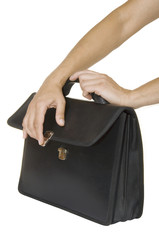 hands close black briefcase