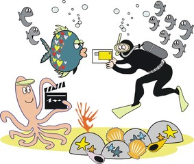 Underwater video photography cartoon