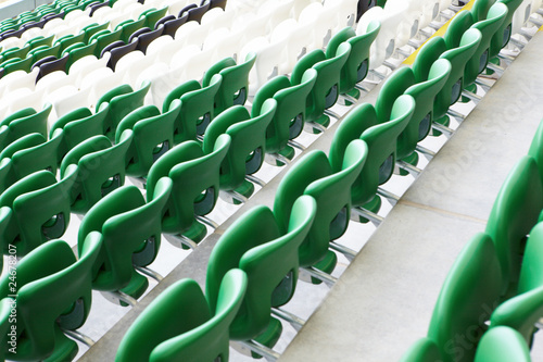 Safety  plastic armchairs on stadium tribune