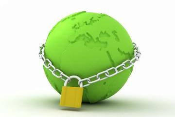 green globe with padlock