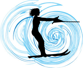 Water skiing woman illustration