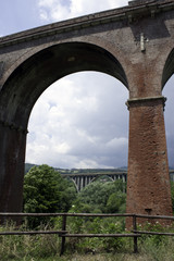 An old bridge built during fascism on the Mingardo gorge,Italy