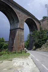 An old stately viaduct on the Mingardo gorge, Salerno, Italy