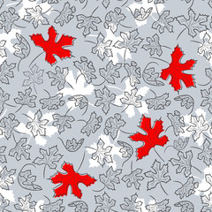 Doodle seamless background from decorative autumn leaves