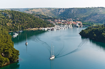 top view of the mountain river in Croatia
