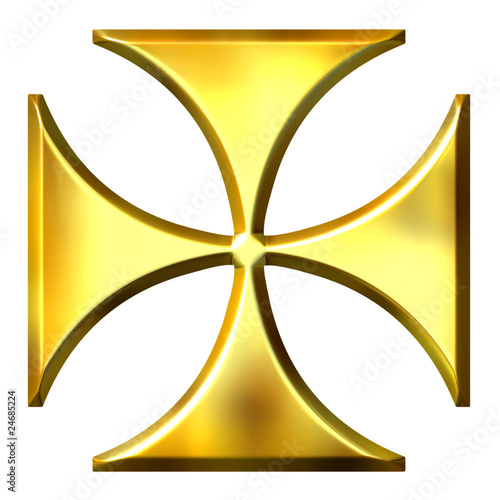 3D Golden German Cross
