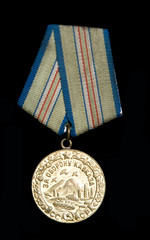 "Medal ""For the defending of Caucasus"", isolated on black"