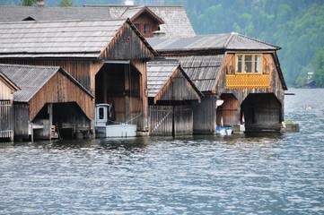 Austian boat houses in Hallstatt
