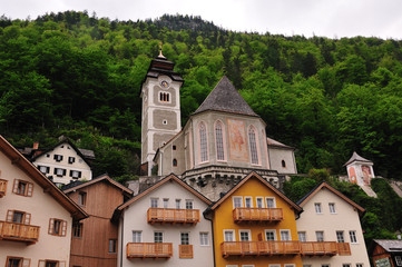 Famous churches on hillside of Hallstatt