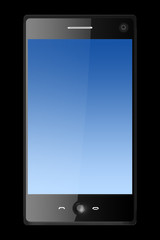 three dimensional mobile phone isolated on black
