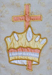 Tapestry fabric with cross and crown
