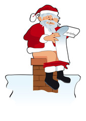 Santa reading naughty list sitting on chimney - isolated