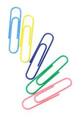 Five multicolor paper clips