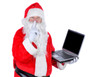 Santa Claus Holding Laptop