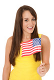 Girl holding USA flag