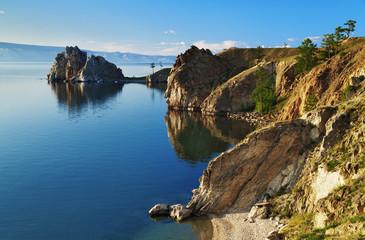 Cape Burhan and Shaman Rock on Olkhon Island at Baikal Lake