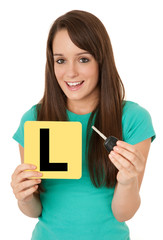 Learner driver holding car key
