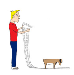 Cartoon of man reading instructions