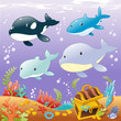 Family animals in the sea. Cartoon and vector illustration