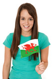 Woman waving the Welsh flag poster