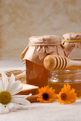 flowers and honey on bagging
