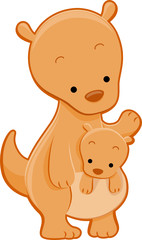 Cute Kangaroo With Joey