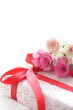 Pink Roses and gift box  for birthday and wedding image