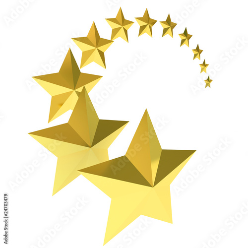 gold stars background. Eleven gold stars on white
