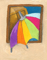 Colorful parasol peeping through the window