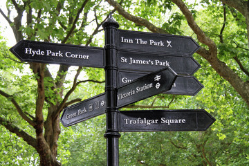 Direction signs for tourists in central London