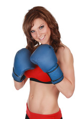 Pretty woman with boxe gloves
