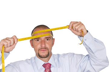 Office worker with inch tape