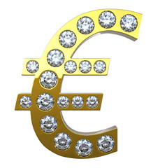 Golden Euro currency symbol with diamonds