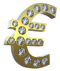 3D Euro symbol incrusted with diamonds