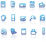 Blue icons of kitchen home appliances poster