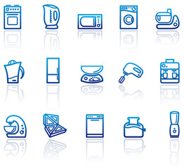 Blue icons of kitchen home appliances