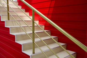 stairs and red wall