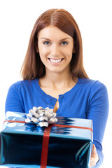 Young smiling woman with gift, isolated on white