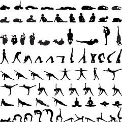 Various yoga postures silhouettes vector--