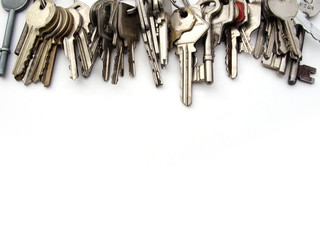 Keys for header or edge on white background