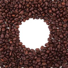 round frame made from coffee beans