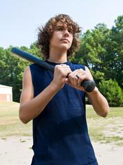 portrait, boy with baseball bat