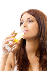 Young woman with glass of champagne, isolated on white