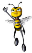 honey bee super hero flying up