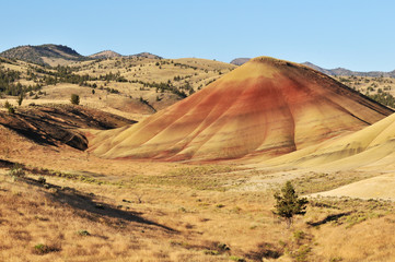 colorful painted hills and layers of soil, Oregon