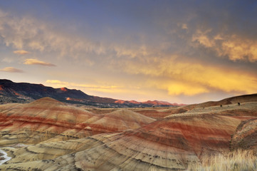 colorful painted hills at sunset, Mitchell, Oregon
