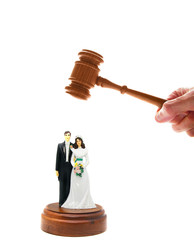 wedding couple figures and court gavel, on white