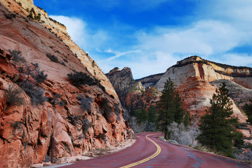 Zion National Park with road and snow