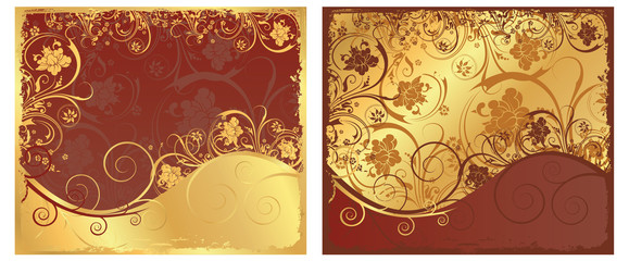set floral golden background. vector