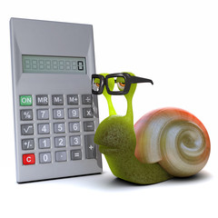 3d Snail goes over the figures